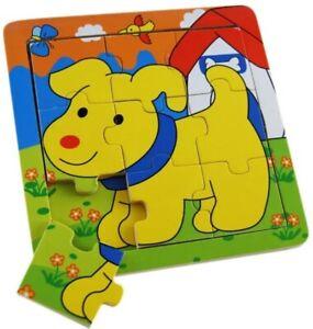 9 Pcs Wooden Animal Jigsaw Puzzle DOG Puzzle Toddler Kids Educational Toy ELKA