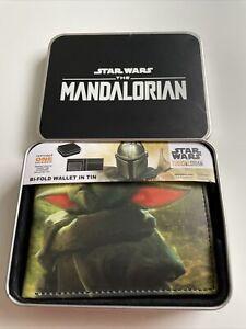 New Disney Star Wars Mandalorian Baby Yoda Designer Bi Fold Wallet In Tin Box