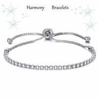 Dainty Swarovski Elements Crystal Adjustable S/P Bracelet by Harmony Bracelets
