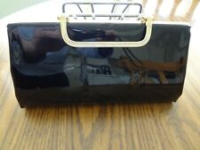 VINTAGE BLACK PATENT LEATHER CLUTCH Handbag Evening Special Occasion