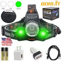 BORUiT 100000Lm 3*XM-L T6 LED Headlamp HeadLight Torch 18650 AC/USB/Car Charger