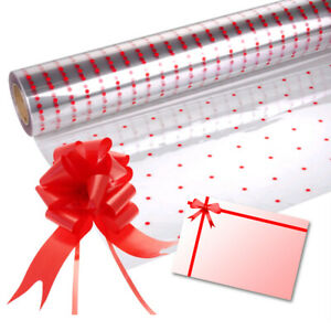 Red Dot Cellophane Gift Wrap Easter Birthday Hampers + Pull Bow & Bow Card