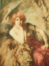 Emile Friant signed antique French art deco engraving by Braun 1919