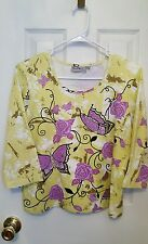 Coral Bay Bright Colorful Butterfly Top Size PM