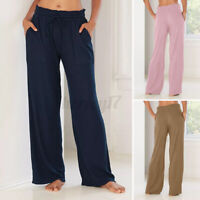 Ladies Women Long Corduroy Trousers Pants Elastic Waist Loose Wide Leg Size 8-26