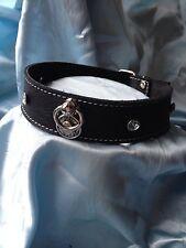 Handmade Black Celtic Knot & Ring leather Crystal collar Bondage fetish