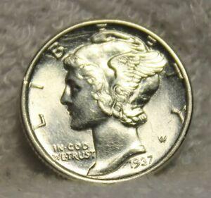 1937 uncirculated mercury dime full bands