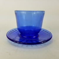 Vintage Cobalt Blue Glass Votive Candle Holder Cup And Saucer Trinket Dish