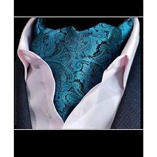 Premium - Turquoise Vert et Noir Floral Motif Cachemire - SOIE HOMME CRAVATE'