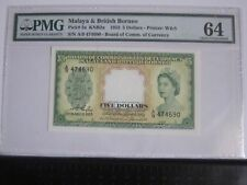 Rare!!! PMG 64 - Malaya  & British Borneo 5 Dollars KNB2a