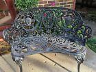Antique French Victorian Cast Aluminum Cameo Garden Bench