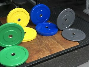 "100kg Pack Coloured Olympic bumper plates,New and boxed weightlifting, 2"" Holes"