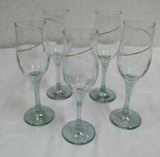 5 Sektgläser Kelche Glas mit blassgrünen Stiel und Goldverzierung