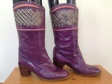 Vtg Francois Villon Paris Purple Italian Leather Studded Cowgirl Boots 36 5.5