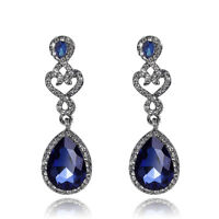 4 Color High Quality Glass Rhinestone Fashion Women Wedding Party Earrings Gifts