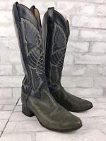 Tony Lama Blue Leather Cowboy Boots Wings Stitch Womens Sz 5 1/2 B. Style 4020