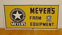 "Vintage Meyer's Farm Equipment Tin Metal Sign Dorchester Wisconsin 24"" x 11 3/4"""