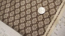 """Cotton Fabric Andover QUILT INSPIRED CREAM & BROWN SQUARES Kathy Hall  1 Yd/44"""""""