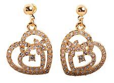 Pierced Earrings Gold Authentic 7103Ga Swarovski Elements Crystal Heart In Heart