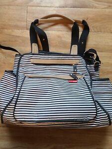 SKIP HOP Grand Central Take-it-All Diaper Bag, Black and White Striped
