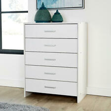 Chest of Drawers White Bedroom Furniture 5 Drawer Silver Handles & Runners