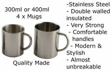 4 x Stainless Steel Metal Coffee Double Wall Insulated Mugs Cups Camping Hiking