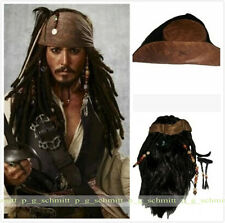 Film Pirates of the Caribbean Captain Jack Sparrow Cosplay Brown Wig+Beard Prop