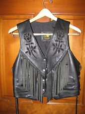 Women's L TRD LEATHERS Black Leather Motorcycle Vest Rose Insert Snap Front