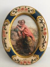 Vintage Oval Victorian Picture Frame w/Roses on Blue Trimmed in Gold, Blessing
