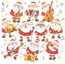2 Serviettes en papier Père Noël musique Decoupage Paper Napkins Santa Music