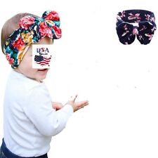 Baby Toddler Girls Big Wide Bow Cotton Headband Turban Headwrap Messy Bow