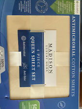 Factory Seal Madison luxury home 4 Piece queen sheet set 100% Cotton