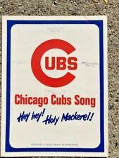 BASEBALL sheet music CHICAGO CUBS SONG Hey! Holy Mackerel 1969