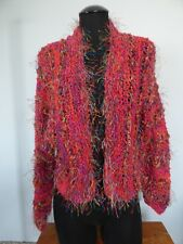 Hand Knit Chunky Multicolor Cardigan Sweater Red Medium