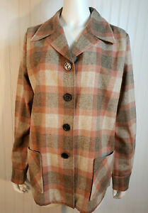 Mint EUC Pendleton Women's XL Wool Jacket Plaid Pink Gray 2 Pocket