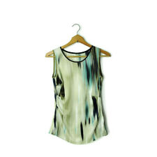 Elie Tahari size XS silk satin ruched blouse abstract print gorgeous tank top