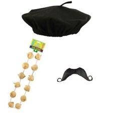 Childrens Kids Boys French Beret Hat, Moustache & Garlic Garland Fancy Dress Set