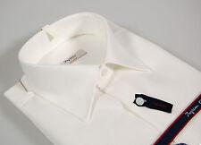 Camicia bianca cotone operato No Stiro Ingram collo classico Italiano taglia 49