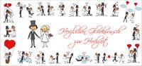 Lustige Hochzeitskarte mit süssen Strichzeichnungen / Comic Set inkl. Umschlag