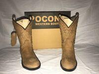 POCONO Children's Kids Leather Brown Round Toe Western Roper Boots C-1552 NIB