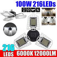 100W 12000LM 216 LED Bright Ceiling Lamp E26 Sensor Deformable Garage Light  T%^
