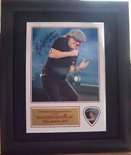 Brian Johnson AC/DC Preprinted Autograph & Guitar Pick Display Mounted & Framed