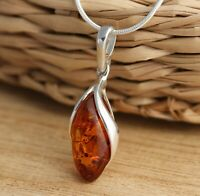 Baltic Amber 925 Sterling Silver Stylish Pendant Necklace Snake Chain Jewellery