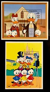 MALDIVES 1984 DISNEY DONALD DUCK FAMILY PORTRAITS STAMPS 2 SS MNH 50TH BIRTHDAY