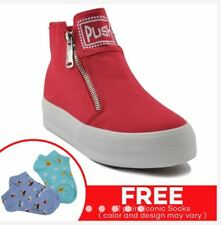 Rave Push Sneakers Shoe with FREE Iconic Socks  (RED HIGH CUT) SIZE 36