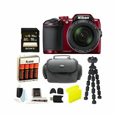 Nikon COOLPIX B500 Digital Camera (Red) with Gadget Bag & Focus Accessory Bun...