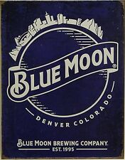 "Blue Moon Beer Tin Sign 13""x 16"""
