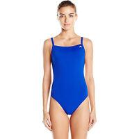 adidas Women's Solid Vortex-Back Sport Active One Piece Swimsuit, Blue, 24