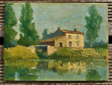 ancien tableau paysage marais poitevin signé Christian Couillaud la rochelle