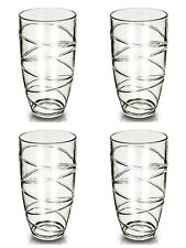 4x Clear Swirl Acrylic Tumbler Plastic Glass Picnic Camping Party Glasses 16Oz